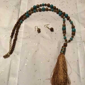 Brown & turquoise necklace and earrings